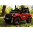 Masinuta electrica Jeep BRD-7588 90W 12V cu Scaun Tapitat #Rosu